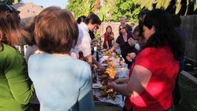 International colleagues over for a crawfish boil in June